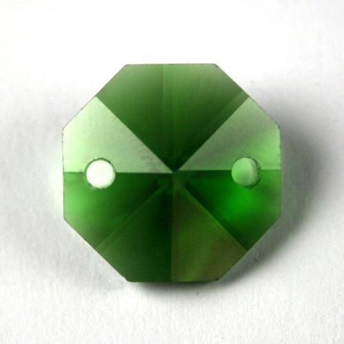 Ottagono 16 mm verde cristallo vetro molato 2 fori