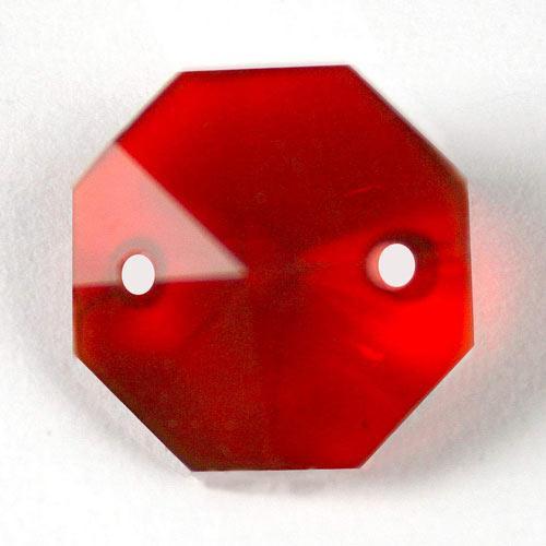 Ottagono 18 mm rosso cristallo vetro molato 2 fori