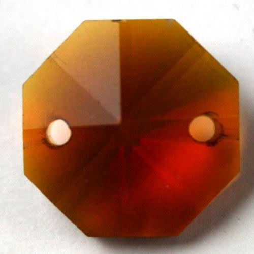 Ottagono 20 mm ambra caldo cristallo vetro molato 2 fori