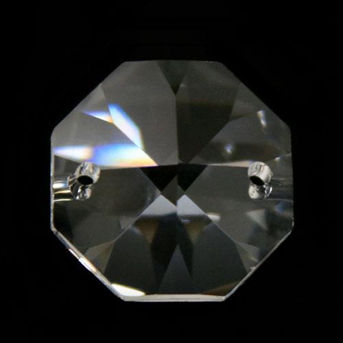 Ottagono 30 mm cristallo sfaccettato due fori -Asfour 1080-