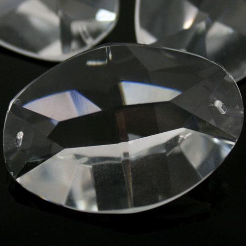 Ovalino a due fori 50 mm - Cristallo Vetro molato