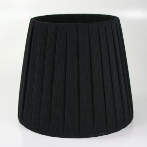 Paralume 14x10x12 cm tronco conico rivestito da org colore nero n°9. Montatura argento attacco a molla.