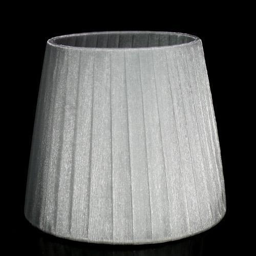 Paralume 14x10x12 cm tronco conico rivestito da organza grigio n°3. Montatura argento attacco a molla.