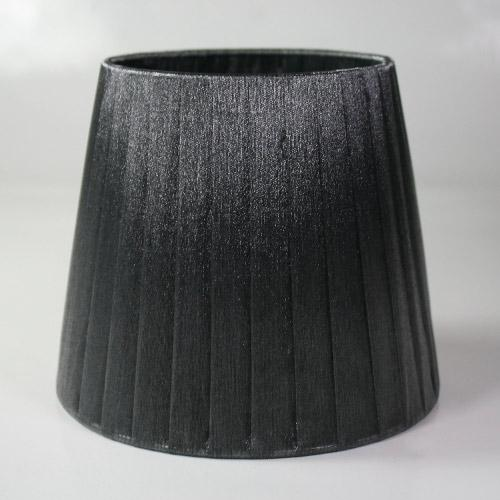 Paralume 14x10x12 cm tronco conico rivestito da organza grigio scuro n°17. Montatura argento attacco a molla.