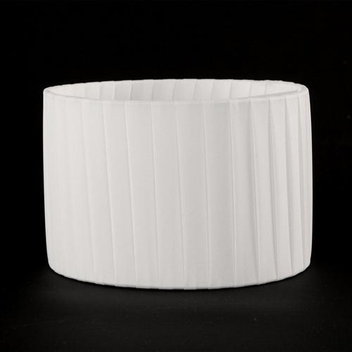 Paralume cilindro rivestito in ponge' color bianco, 15x10 cm. Attacco a molla. Montatura bianca.