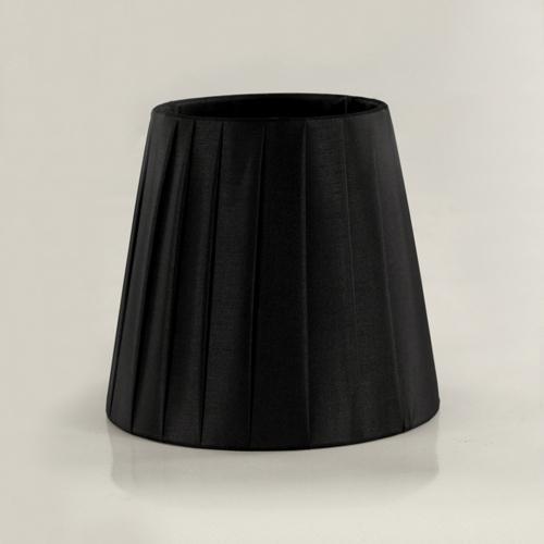Paralume tronco cono Ø13 x Ø9 x h12 cm - cotonette plissè nero - attacco E14 - telaio bianco
