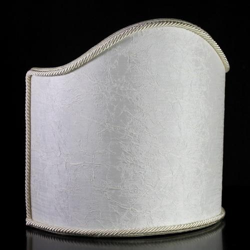 Paralume ventola creponnè stropicciato color avorio con bordura avorio. Attacco E14