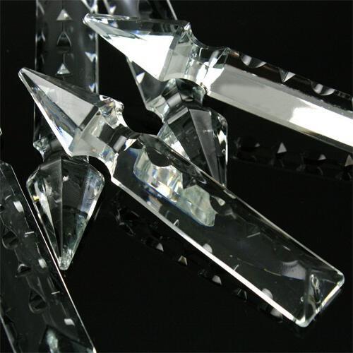 Pendaglio freccia 100 mm con foro in vetro cristallo molato lucidato