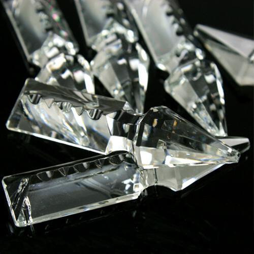 Pendaglio freccia 63 mm con foro in vetro cristallo molato lucidato