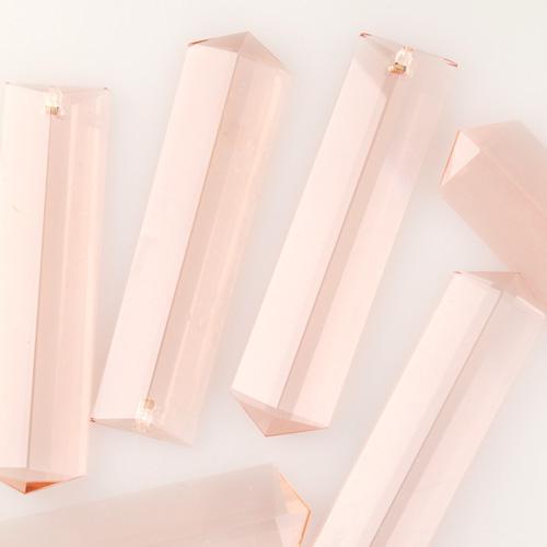 Pendente losanga a punta cristallo di Boemia molato h75 mm, color rosa antico, foro singolo.