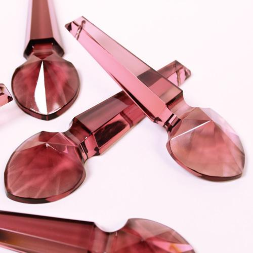 Pendente placca goccia cristallo di Boemia ametista 100 mm con foro passante. Goccia per restauro lampadari