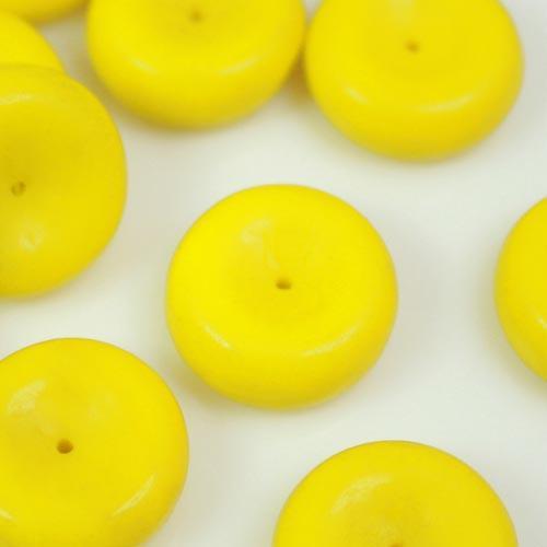 Perla ciambella in pasta di vetro gialla, 7 mm