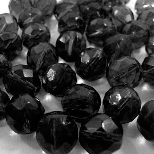 Perla sfaccettata 10 mm mezzo cristallo nero