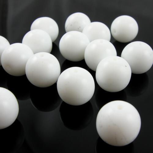 Perla tondino 14 mm bianco coprente in pasta di vetro Murano, foro passante