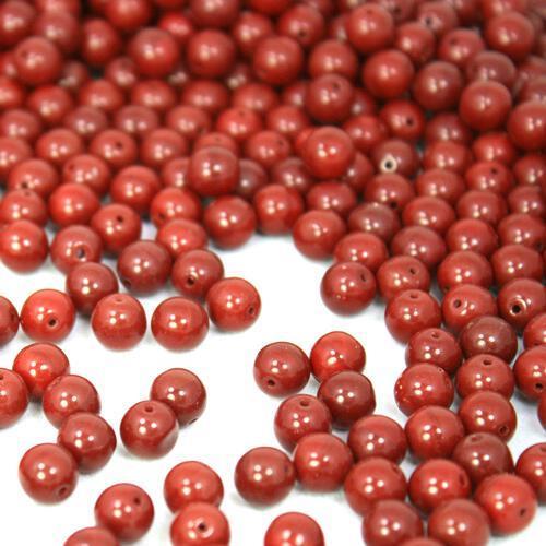 Perla tondino 8 mm rosso coprente in pasta di vetro Murano, foro passante