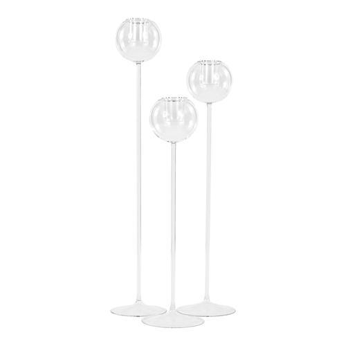 Portacandela alto 55 cm in vetro soffiato cristallo trasparente con bicchiere estraibile