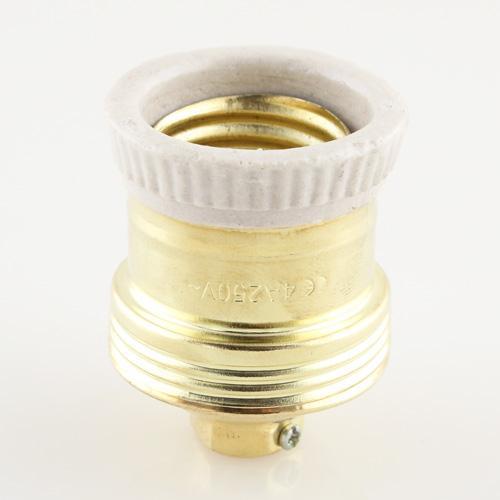 Portalampada E27 anticato in ottone e ceramica