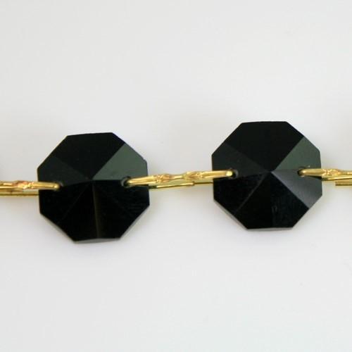 Catena ottagoni 14 mm in cristallo nero, lunghezza 50 cm, clip ottone.