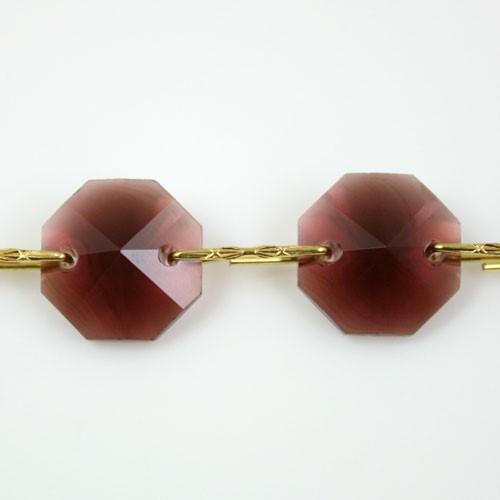 Catena ottagoni 14 mm in cristallo ametista, lunghezza 50 cm, clip ottone.