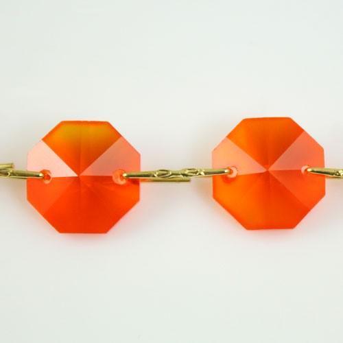 Catena ottagoni 14 mm in cristallo arancione, lunghezza 50 cm, clip ottone.