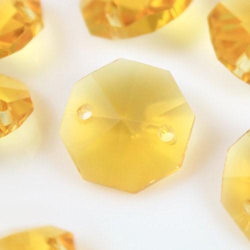 Catena ottagoni 14 mm in cristallo giallo, lunghezza 50 cm, clip nickel.