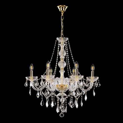 Lampadario cristallo 6 luci stile Boemia, allestito in cristallo molato e struttura cromo.