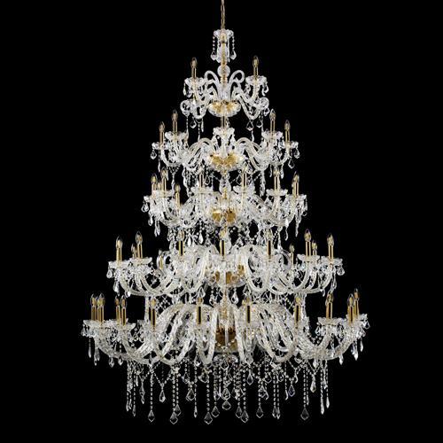 Grande lampadario cristallo 60 luci su 5 piani stile Boemia, allestito in cristallo molato e struttura cromo.