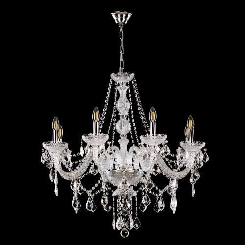 Lampadario cristallo 8 luci stile Boemia, allestito in cristallo molato e struttura cromo.