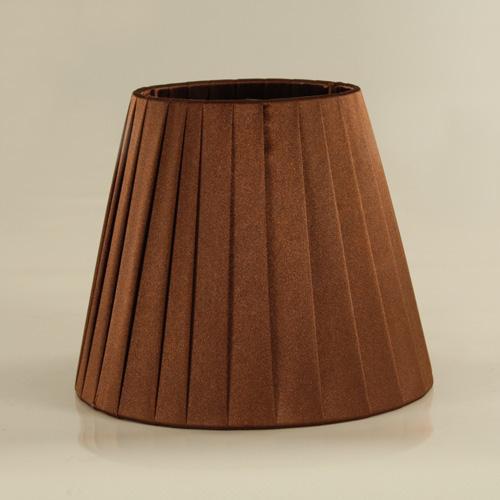 Paralume tronco cono Ø16 x Ø10 x h13 cm - cotonette plissè marrone - attacco E14 - telaio bianco