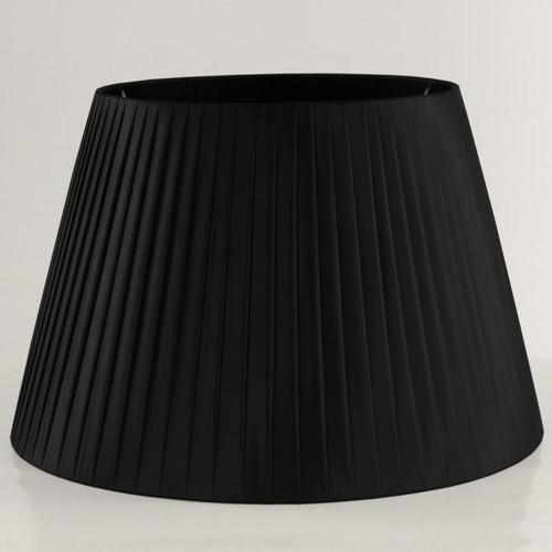 Paralume tronco cono Ø45 x Ø30 x h30 cm - cotonette plissè nero - attacco E27 - telaio bianco
