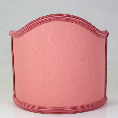 Paralume ventola L16 x h16 cm - shantung rosa con bordura rosa - attacco E14