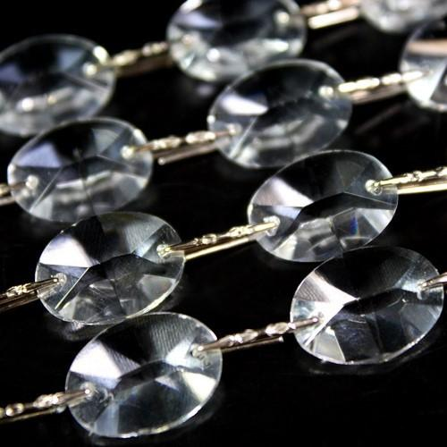 Catena ovalini 18 mm cristallo, 50 cm di lunghezza, colore puro. Clip nickel.