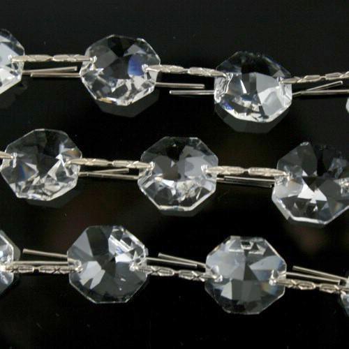 Catena ottagoni 12 mm cristalli Asfour lunga 50 cm clip nichel
