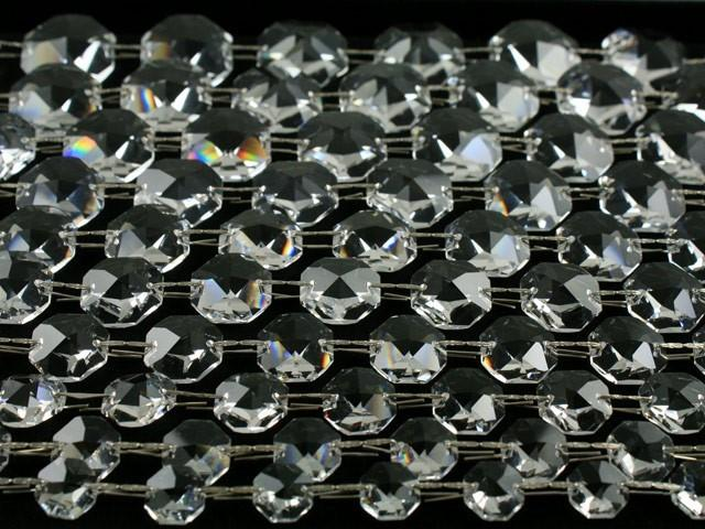 Catena ottagoni 14 mm cristalli Asfour lunga 50 cm clip nickel