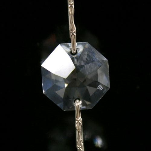 Catena Swarovski ottagoni Ø 14 mm di puro cristallo da 50 cm, clip nikel a stella.