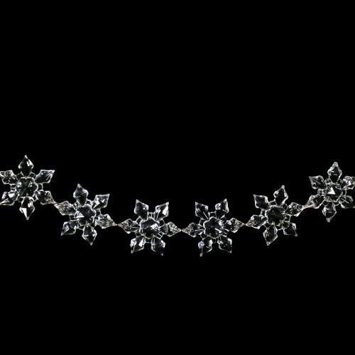 Catena ghirlanda di stelle fiocchi di neve 44 mm in cristallo acrilico colore puro, clip nickel, lunghezza 50 cm