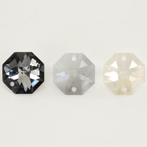 Swarovski - Cristallo ottagono doppio foro Crystal Silver Shade 14 mm - 8116 -
