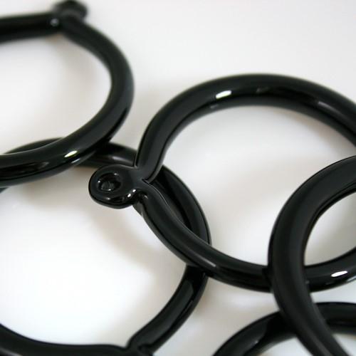 Anello pendente 50 mm vetro di Murano nero in fogo lucido