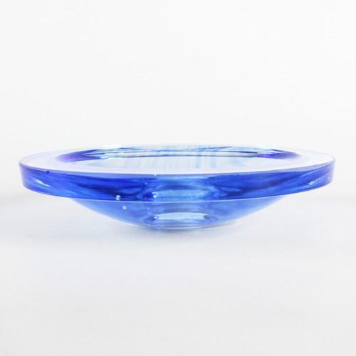 Bobeche piattino lampadari vintage in vetro azzurro Ø90 mm, foro Ø10 mm.