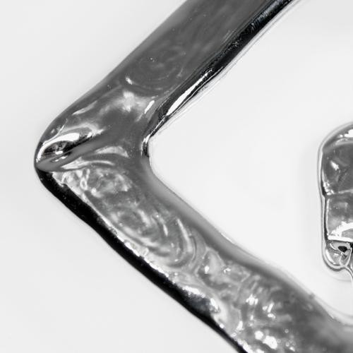 Anello quadro in vetro 14x14 cm color argento metallizzato
