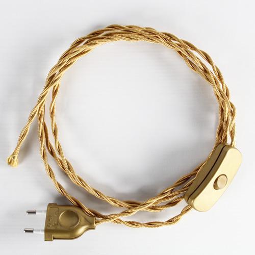 Cablaggio per lampada treccia tessile con interruttore e spina oro, 120 cm (spina) + 80 cm (attacco).