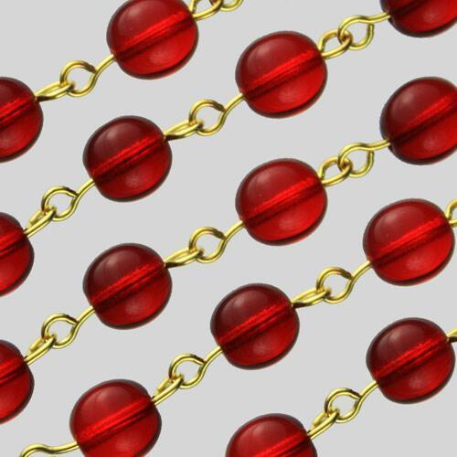 Catena 50 cm perle Ø 8 mm tondino liscio colore rosso, spillo a occhiello oro