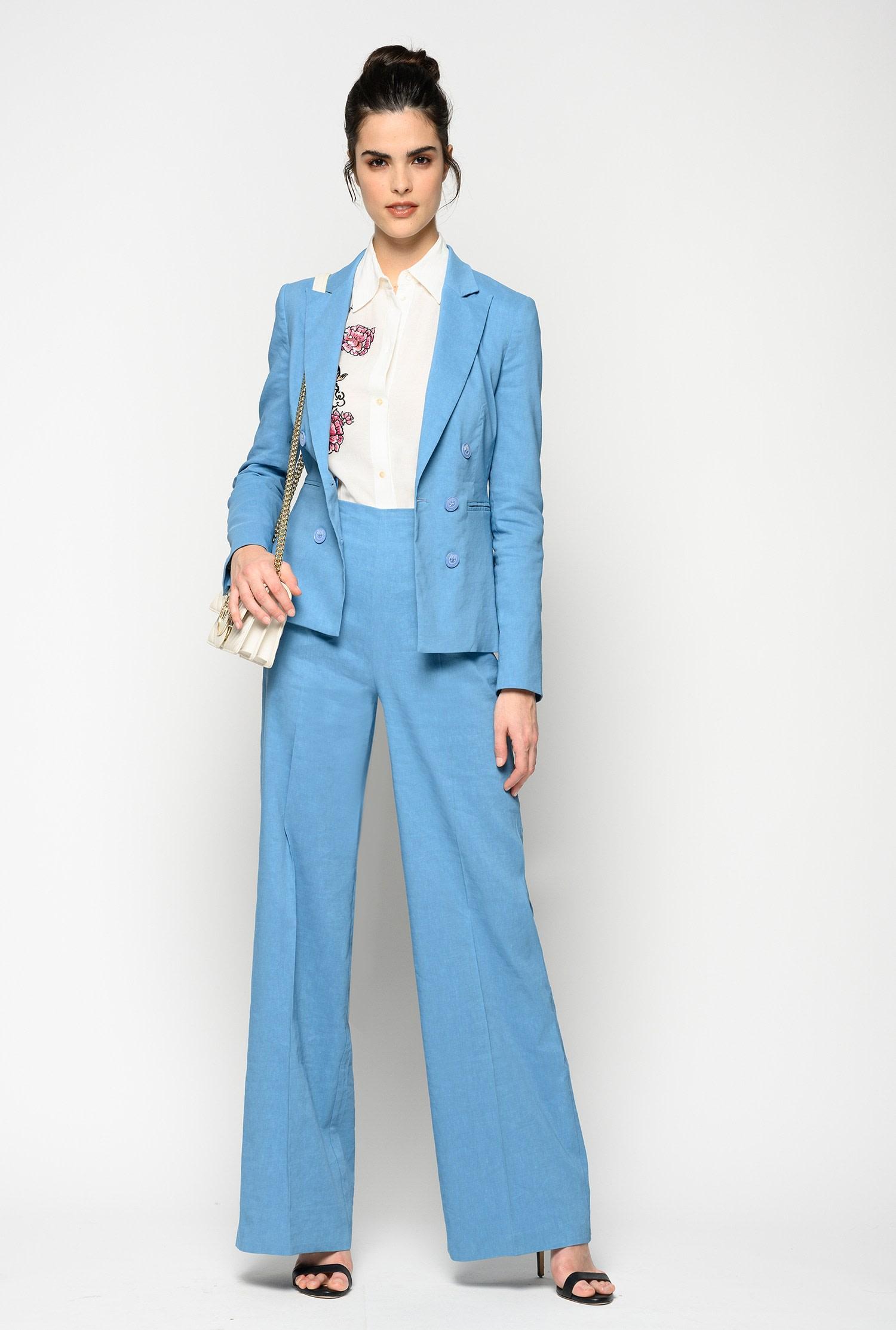 Pantalone palazzo lino viscosa Pinko
