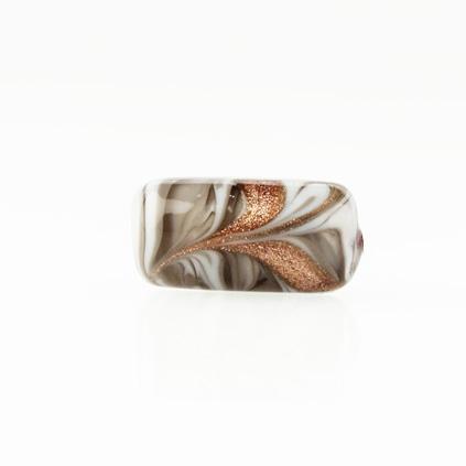 Perla di Murano cilindro Fenicio Ø9x18. Vetro bianco, grigio e avventurina. Foro passante.