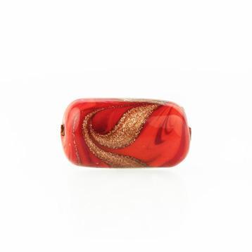 Perla di Murano cilindro Fenicio Ø9x18. Vetro bianco, rosso e avventurina. Foro passante.