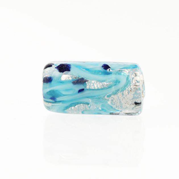 Perla di Murano cilindro Medusa Ø8x20. Vetro turchese, foglia argento e avventurina blu. Foro passante.