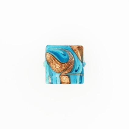 Perla di Murano schissa Fenicio Ø14. Vetro turchese e avventurina. Foro passante.