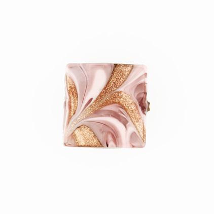 Perla di Murano schissa Fenicio Ø18. Vetro rosa e avventurina. Foro passante.