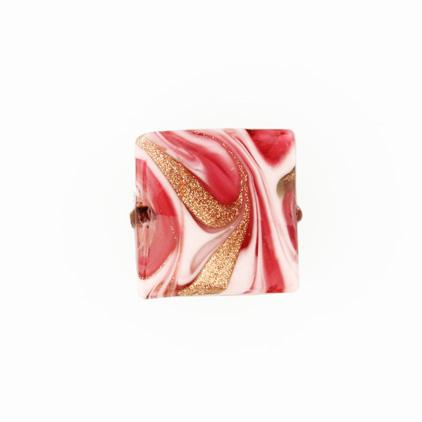 Perla di Murano schissa Fenicio Ø18. Vetro rubino e rosa e avventurina. Foro passante.