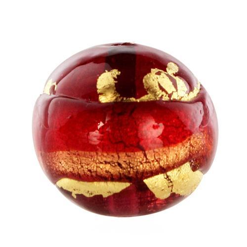 Perla di Murano tonda Sommersa Ø16. Vetro rosso, ametista, foglia oro. Foro passante.